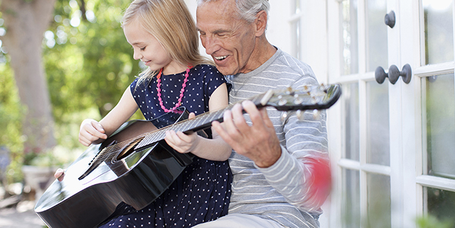 residential living grandfather with guitar